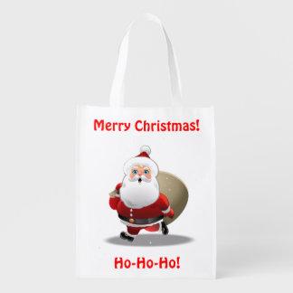 Lustiger Weihnachtsmann mit einem Sack voll von Wiederverwendbare Einkaufstasche