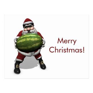 Lustiger Weihnachtsmann mit riesiger Melone Postkarte