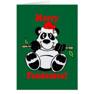 Lustiger Weihnachtspanda-Bär Karte