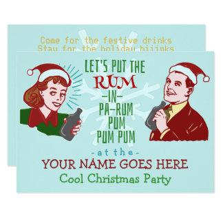 Lustiger WeihnachtsParty-Retro Rum-erwachsener Karte