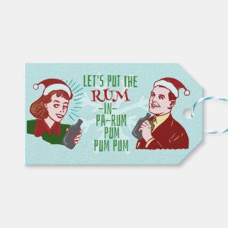 Lustiger WeihnachtsRetro Rum-erwachsenes Geschenkanhänger