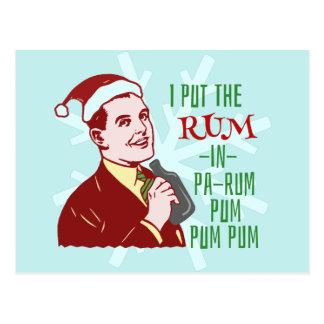 Lustiger WeihnachtsRetro Rum-trinkender Postkarte