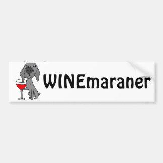 Lustiger Weimaraner Hund, der Rotwein trinkt Autoaufkleber