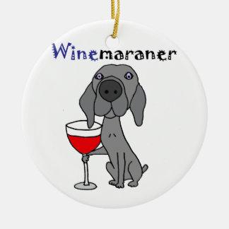 Lustiger Weimaraner Hund, der Rotwein trinkt Rundes Keramik Ornament