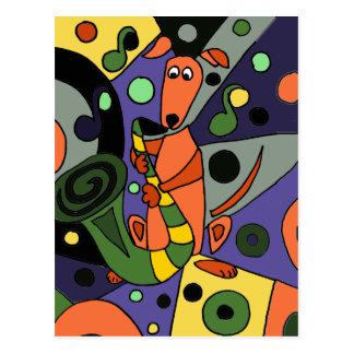 Lustiger Windhund-Hund, der Saxophon spielt Postkarte