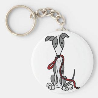 Lustiger Windhund-Hund mit roter Leine Schlüsselanhänger