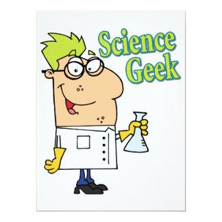 lustiger Wissenschaft Geek-Cartooncharakter 16,5 X 22,2 Cm Einladungskarte