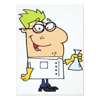lustiger Wissenschafts-Nerd-Cartooncharakter Einladungskarte