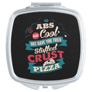 Lustiger Workout-Spaß, ABS gegen Pizza, sperrig Schminkspiegel