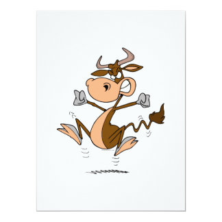 lustiger wütender Temperament Tantrum-Kuh-Cartoon Individuelle Ankündigskarten