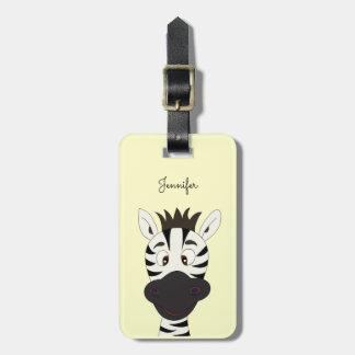 Lustiger Zebra-Cartoongelb-Gepäckumbau Kofferanhänger