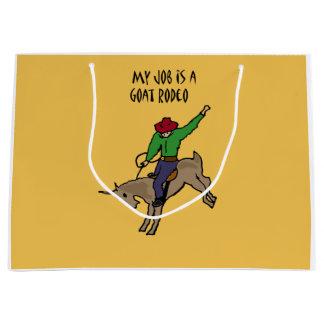 Lustiger Ziegen-Rodeo-Job-Spaß-Cartoon Große Geschenktüte