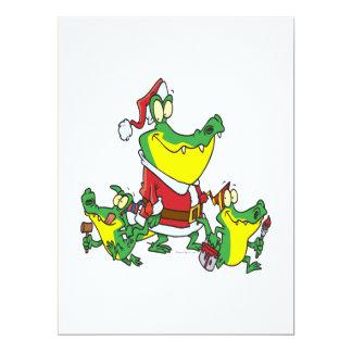 lustiges Alligatorweihnachten Sankt und Individuelle Ankündigungskarte
