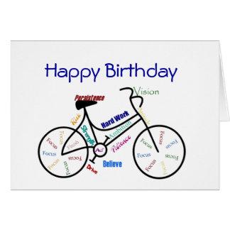 Lustiges Alters-Geburtstags-Fahrrad, fahrend, Karten