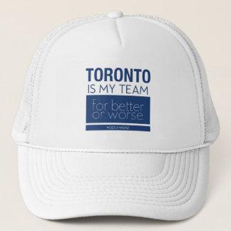 Lustiges Antitoronto trägt Hut für erschöpfte Fans Truckerkappe