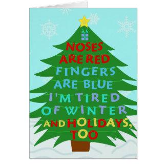 Lustiges Bah Humbug-Weihnachtsgedicht Grußkarte