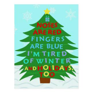 Lustiges Bah Humbug-Weihnachtsgedicht Postkarten