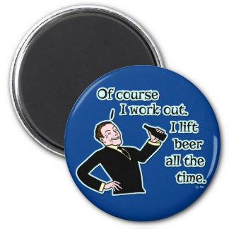 Lustiges Bier arbeiten Spaß aus Runder Magnet 5,1 Cm