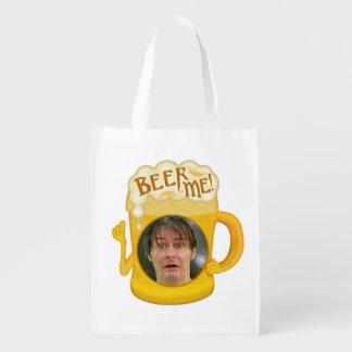 Lustiges Bier ich trinkendes personalisiertes Foto Wiederverwendbare Einkaufstasche