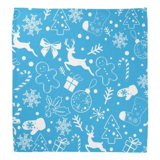 Lustiges blaues Christmassy Muster Kopftuch