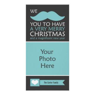 Lustiges blaues Schnurrbart-WeihnachtsFoto Karte