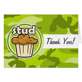 Lustiges Bolzen-Muffin auf grüner Camouflage Karten