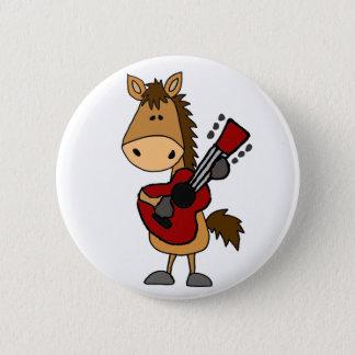 Lustiges Bucht-Pferd, das Gitarren-Kunst spielt Runder Button 5,1 Cm