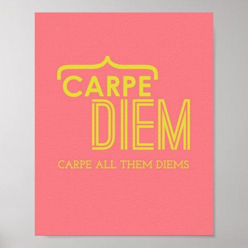 Lustiges Carpe Diem Plakat im Rosa u. im Gold