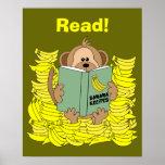 Lustiges Cartoon-Affe-Leseplakat für Lehrer Posterdruck