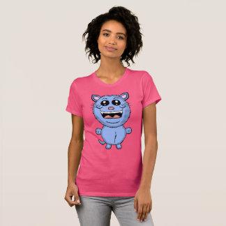 Lustiges Cartoon-blaue Katzen-Shirt T-Shirt