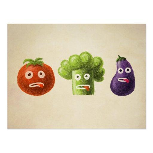 Lustiges Cartoon-Gemüse Postkarte