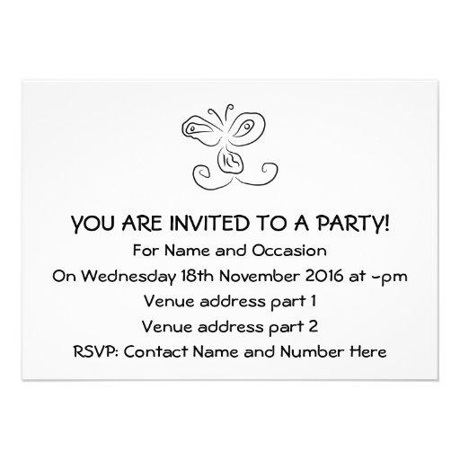 Lustiges Cartoon-Insekten-Gesicht Personalisierte Einladungskarte