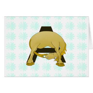 Lustiges Cartoon-Pony-Monogramm A Grußkarte