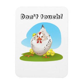 Lustiges cartoony wütendes Huhn, tun nicht Touch Magnet