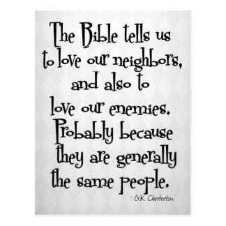 Lustiges christliches religiöses Zitat GK Chestert Postkarte