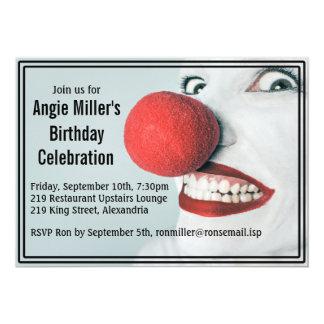 Lustiges Clown-Gesichts-moderner Geburtstag 12,7 X 17,8 Cm Einladungskarte