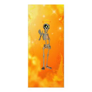 Lustiges, cooles Skelett mit Nimbus 10,2 X 23,5 Cm Einladungskarte
