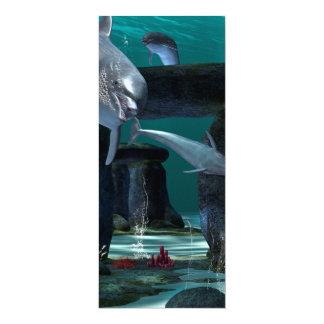 Lustiges Delphinspielen 10,2 X 23,5 Cm Einladungskarte