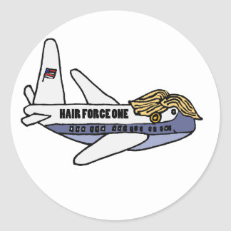 Lustiges Donald Trumppräsidentenflugzeug Runder Aufkleber
