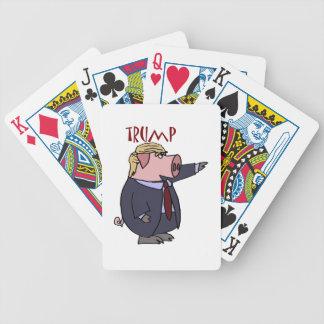 Lustiges Donald- Trumpschwein-politischer Cartoon Bicycle Spielkarten