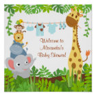 Lustiges Dschungel-Baby-Tier-Babyparty-Plakat Poster