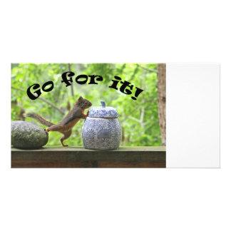 Lustiges Eichhörnchen-Bild ~ streben es an! Photokartenvorlage