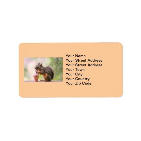 Lustiges Eichhörnchen, das Eistüte leckt Adressaufkleber