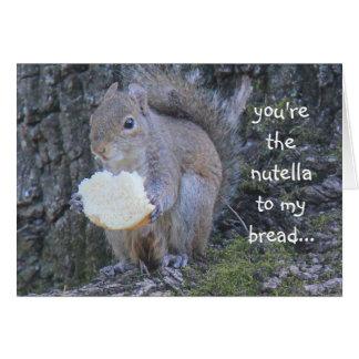 Lustiges Eichhörnchen, nutella zu meinem Brot, Mitteilungskarte