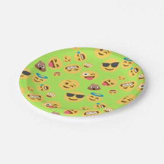 Lustiges Emoji Muster (Grün) Pappteller