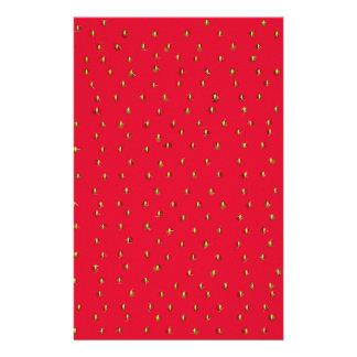 Lustiges Erdbeerhintergrundrot Briefpapier