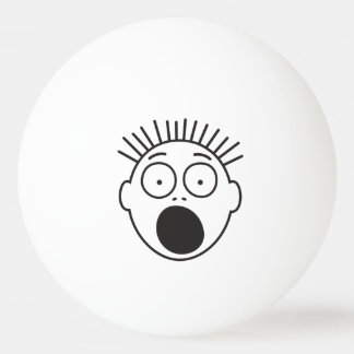 Lustiges erschrockenes Gesicht Tischtennis Ball
