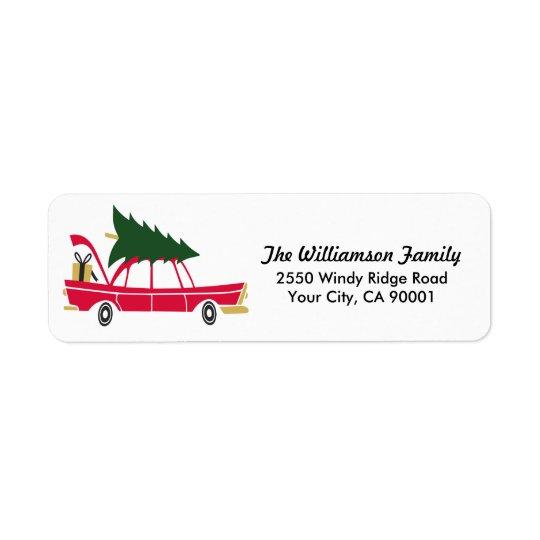 Lustiges Familien-Weihnachten, das Rückversand-Adressaufkleber