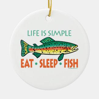 Lustiges Fischen Keramik Ornament