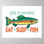 Lustiges Fischen-Sprichwort Poster